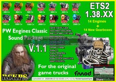 PW Engines Classic Sounds Pack ETS2 v1.1 by RCKPS (1.38.x)