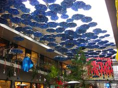 Installations of umbrellas in a shopping center in Seoul's Insa-dong