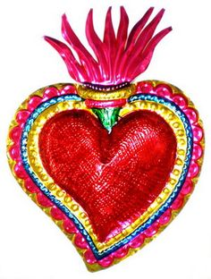 """PAINTED HEART W/ FLAME LG 7"""""""