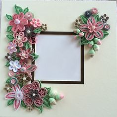Quilled pink flowers for shadow box frame