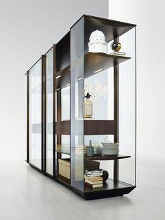 Vitrina / armário em alumínio e vidro KRISTAL by MOLTENI