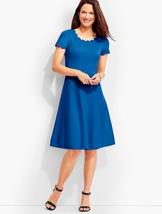 Scalloped-Trimmed Sweater Dress - Talbots
