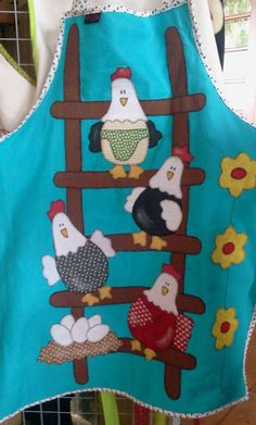 Chickens on a Ladder Apron Sewing Appliques, Applique Patterns, Applique Quilts, Applique Designs, Embroidery Applique, Quilt Patterns, Sewing Patterns, Chicken Crafts, Chicken Art