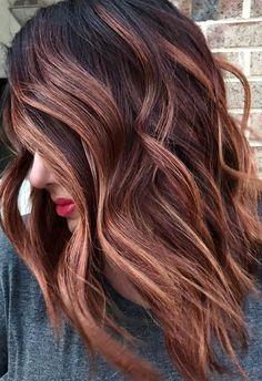 Red Balayage Hair, Balayage Hair Caramel, Blonde Hair With Highlights, Caramel Hair, Balayage Brunette, Brunette Hair, Peekaboo Highlights, Purple Highlights, Brown Balayage