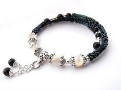 Teal seed bead wire bracelet memory wire bracelet beadwork jewelry bracelet