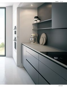 gray kitchen cabinets - why should I outfit a gray kitchen layout with gray cabinets, wall surface paint, flooring, wallpaper Modern Grey Kitchen, Gray And White Kitchen, Modern Kitchen Cabinets, Grey Kitchens, Kitchen Cabinet Design, Kitchen Layout, Interior Design Kitchen, Home Kitchens, Gray Cabinets