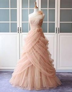 blush pink tulle one shoulder long A-line charming 2018 prom dress, PD1142 #fashion#promdress#eveningdress#promgowns#cocktaildress