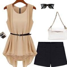 Шорты классические, блузка летняя