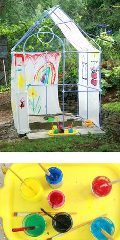 Our DIY backyard playhouse was built with a Fort Magic construction kit in under an hour. It's easily moved & can be used to build a submarine next time. Art Activities For Kids, Creative Activities, Creative Kids, Summer Activities, Backyard Playhouse, Build A Playhouse, Backyard For Kids, Diy For Kids, Backyard Ideas