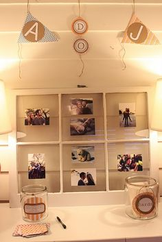 couples shower - cute idea to display the couple's photos