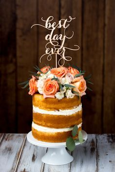 Birch wedding cake topper by Better Off Wed Rustics