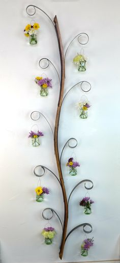 Triple Wave Loop Wall Hanging Candle / Flower Holder - 100% recycled Wine Barrels