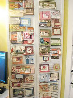 """Showcasing my CTMH cards using closet doors""~ previous pinner  How clever!"
