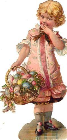 victorian tea cups, little girls, easter baskets - Google Search