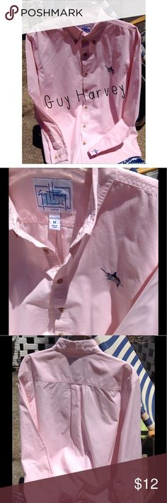 """💘 Awesome Men's Guy Harvey Dress Shirt 💘 Size Medium 100% Cotton Soft Pink Shirt.  Measures 26"""" long ,24"""" sleeves ,15 1/2"""" inseam (from armpit to bottom of shirt)    All buttons secure and gorgeous! I wore this as a Beach Cover-up even though it was a Men's shirt. Gently used, no spots or fading . Guy Harvey Shirts Dress Shirts"""