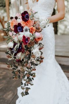 Cascading wedding bouquet by Juniper Designs | photo by Melissa Marshall