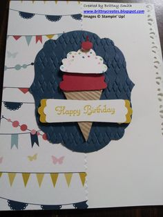 Ice cream birthday card stepped up created by Brittny Smith using Stampin' Up! supplies.  http://brittnysmith.stampinup.net