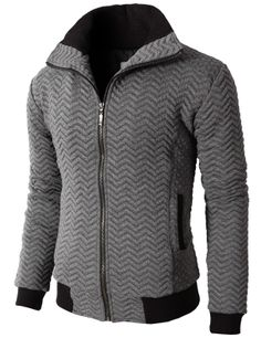 Doublju Mens Casual High Neck Zip Up Jumper With Zigzag Quilting Patterned (KMOJA038) #doublju