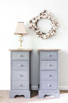 These nightstands were salvaged from a vintage kneehole desk! They were painted in Trophy Milk Paint by Miss Mustard Seed. Bonding Agent was used to prevent chipping and provide a more smooth modern finish. Learn more at www.eighthundredfurniture.com #trophy #mmsmp #mmsmilkpaint #missmustardseedsmilkpaint #nightstands #salvaged #graynightstands #eighthundredfurniture #bondingagent #hempoil