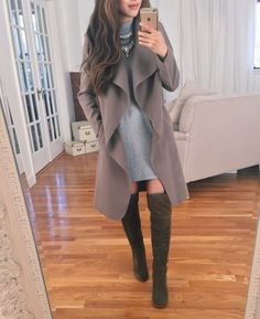 over the knee otk boots outfit idea // swing dress + wrap jacket for fall