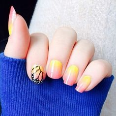 Ombre butterfly wings cute nails nail pretty nails nail art nail ideas nail designs ombre butterfly wings
