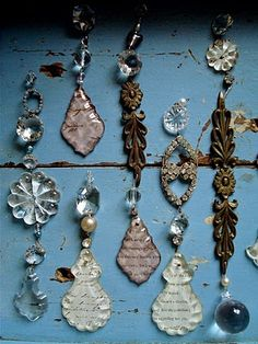 Ornaments and Hanging Decor made from Chandelier Crystals!