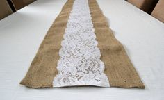 Wedding Table Runner  12 x 72 Burlap and White by TwentyEight12, $20.00