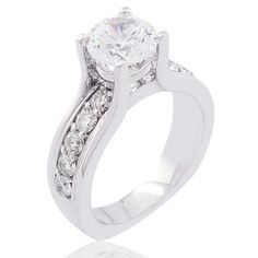 #Malakan #Jewelry - White Gold Diamond Engagement Ring 49885D #Bridal #Weddings #EngagementRings #Diamonds