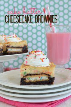 Cake Batter Cheesecake Brownies from insidebrucrewlife.com - Oreo brownies topped with a cake batter cheesecake is perfect for celebrating anything #brownies #cheesecake #cakebatter