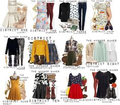 Outfits inspired by the districts of Panem, as featured in The Hunger Games by Suzanne Collins.