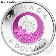Sterling Silver and Niobium Coin - Full Pink Moon - Mintage: 7500 Canadian Things, I Am Canadian, Argent Sterling, Sterling Silver, Gold And Silver Coins, Silver Bars, Numismatic Coins, Coin Art, Mint Coins