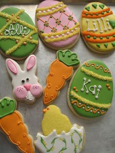 These are my cookies for Easter this year.  Idea for bunny from Pebbles13.  NFSC with Antonia74 royal icing.  TFL..