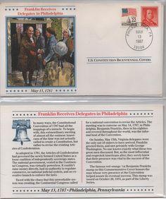 Franklin Receives Delegates in Philadelphia, US Constitution Bicentennial Cover, May 13, 1987, US 22 cent Flag Stamp 1/2 cent Franklin Stamp by VintageNEJunk on Etsy