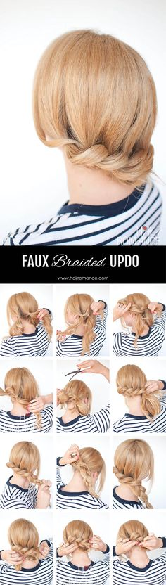 The no-braid braid – 5 pull-through braid tutorials Struggling to braid your own hair? This pull through braid tutorial is your secret no-braid braid hairstyle. It gives you the look of a braid but without any braiding skills required. Braided Hairstyles Tutorials, Easy Hairstyles, Braid Tutorials, Short Hair Braids Tutorial, Latest Hairstyles, Medium Hair Styles, Curly Hair Styles, Pull Through Braid, Hair Romance