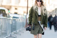 green mini skirt fall outfit - Google Search