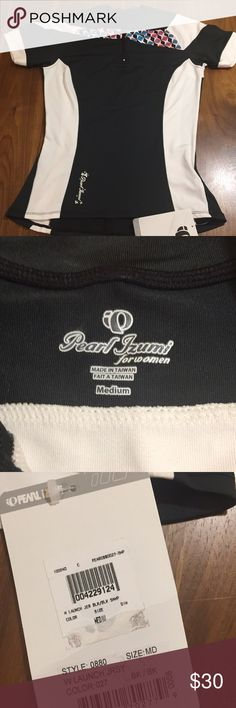 """Pearl Izumi W Launch Jersey Fun to wear, fun to ride. The Women's Launch Jersey features a front zipper for venting and a zip back pocket for storage. Transfer fabric provides optimal moisture transfer. 6"""" zipper for venting with zipper garage. One zippered side-back pocket. 16.5"""" across bust. 26"""" length. Pearl Izumi Tops"""