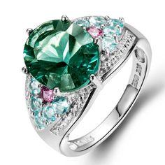 10% СКИДКА Hutang камень свадебные кольца из натуральной драгоценные камни  зеленый флюорит Апатит 925 пробы Серебряный коктейльное кольцо для женщин  купить ... 635b03e04b9