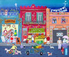 Barrio Abasto by Martha Tominaga - GINA Gallery of International Naive Art Naive Art, People Art, Children's Book Illustration, Pictures To Paint, Beautiful Paintings, Art World, Contemporary Artists, Art History, Amazing Art