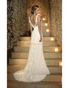 Robe de mariée plage mousseline avec bretelles dos nu