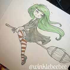 girl-flying-on-broom-with-green-hair-wearing-black-dress-long-stockings-cool-easy-drawings drawings dress Witch Drawing, Painting & Drawing, Drawing Drawing, Drawing Ideas, Halloween Drawings, Halloween Art, Halloween Costumes, Character Drawing, Character Design