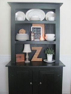 Using what you already have to decorate a new space (also something you may already have...)! Red Barn Candle Company: How To Decorate A Hutch. With Not Much!
