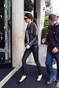 Leather pants and jacket outfit