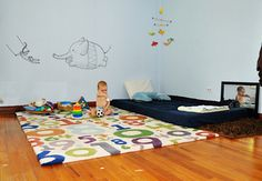 Ditching the crib: Montessori begins at birth. Baby Bedroom, Girls Bedroom, Bedroom Decor, Baby Rooms, Bedroom Ideas, Bedrooms, Montessori Bedroom, Montessori Infant, Above Couch