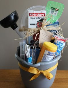 Housewarming bucket.