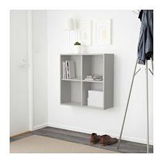 IKEA - EKET, Schrank mit 4 Fächern, hellgrau, , Man kann bei wenig Platz mit einem Element beginnen und es je nach Aufbewahrungsbedarf erweitern.Kann auf dem Boden stehen oder an die Wand montiert werden, damit mehr Bodenfläche frei bleibt.Lässt sich leicht und schnell montieren dank der Holzdübel, die in die vorgebohrten Öffnungen geklickt werden.