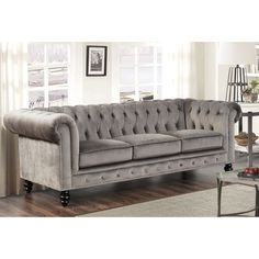 Abbyson Living Grand Chesterfield Grey Velvet Sofa (Grey) (Foam)