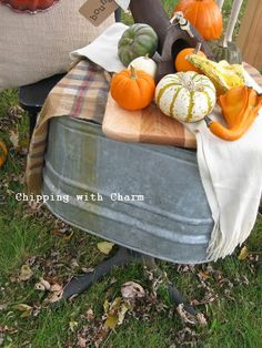 Chipping with Charm: Junky Fall Vignette Wash Tub Table http://chippingwithcharm.blogspot.com/