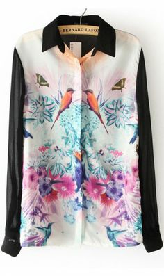 chiffon shirt flower shirt long-sleeved shirt. you can wear it with black skinny jeans or mini skirts and you will stand out