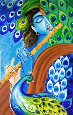 Krishna Painting India art Hindu God Modern India art Hindu art Indian Contemporary Blue gold Indian Wall art Indian decor Krishna art Nikki in 2020 Kerala Mural Painting, India Painting, Indian Art Paintings, Modern Art Paintings, Painting Art, Krishna Drawing, Krishna Art, Krishna Images, Lord Krishna