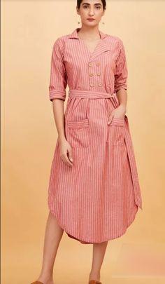 Beautiful cotton stripes kurta with western pattern Simple Dresses, Casual Dresses, Fashion Dresses, Beautiful Dresses, Dress Outfits, Western Dresses For Women, Indigo Dress, Kurta Designs Women, Cotton Dresses